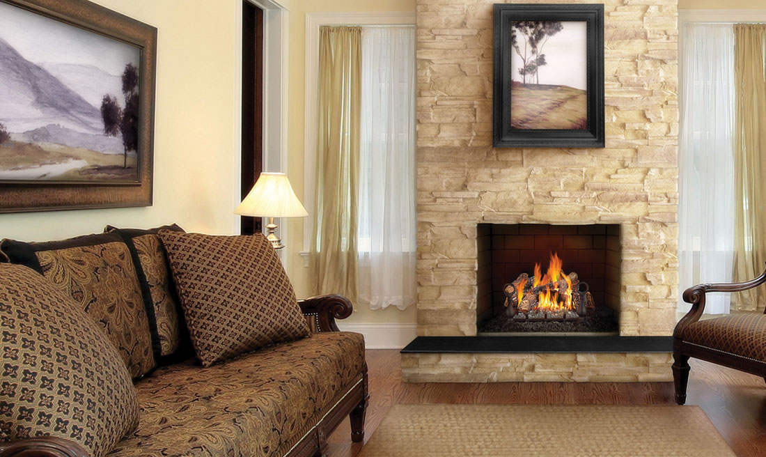 Napoleon fiberglow vent free fireplace with a rock chimney