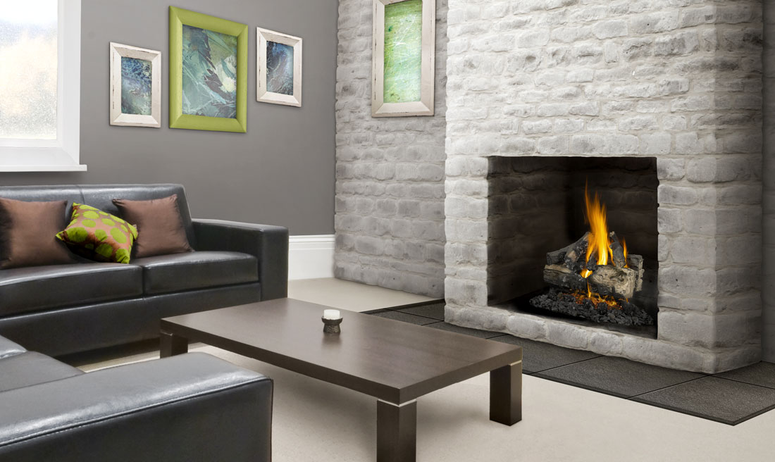 Napoleon Verso fireplace with grey brick surround