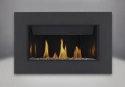 Ensembles décoratifs de braises de verre - topaze, panneaux réflecteurs radiants en porcelaine MIRO-FLAMME<sup>MD</sup>, contour classique à quatre côtés, revêtement en poudre noir peu lustré