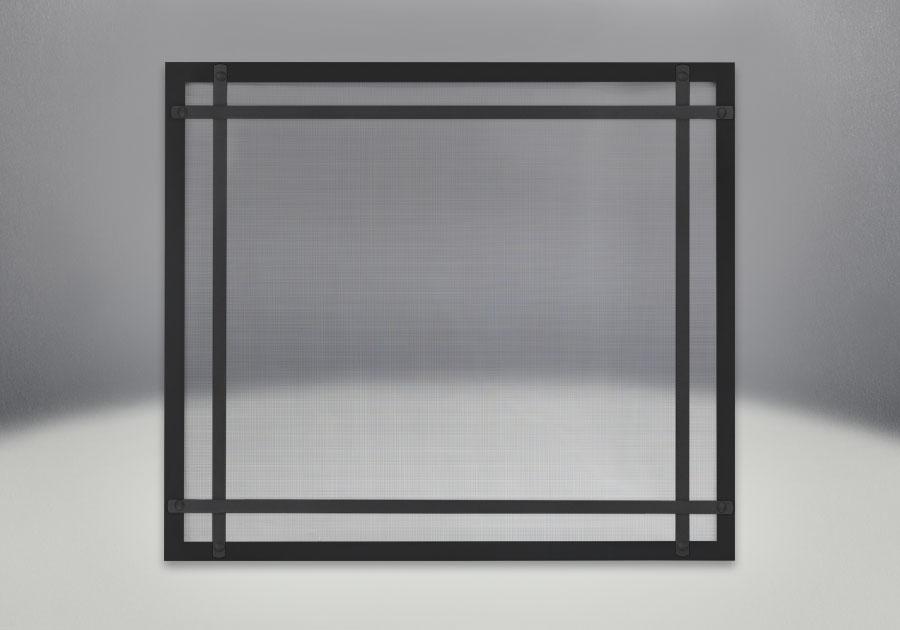 Façade classique noire illustrée avec des barres d'accent droites en fini noir et un écran de protection