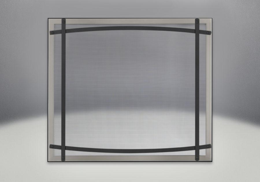 Façade classique illustrée avec un revêtement en fini inoxydable brossé, des barres d'accent cambrées en fini noir et un écran de protection