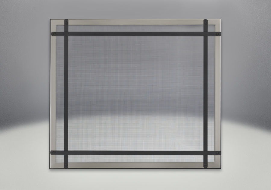 Façade classique illustrée avec un revêtement en fini inoxydable brossé, des barres d'accent droites en fini noir et un écran de protection