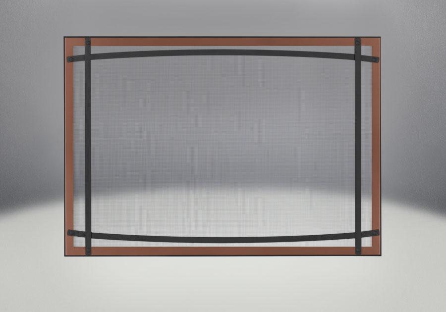 Façade classique illustrée avec un revêtement en fini cuivre brossé, des barres d'accent cambrées en fini noir et un écran de protection