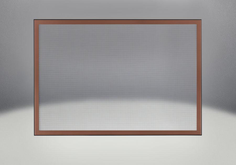 Façade classique illustrée avec un revêtement en fini cuivre brossé et un écran de protection