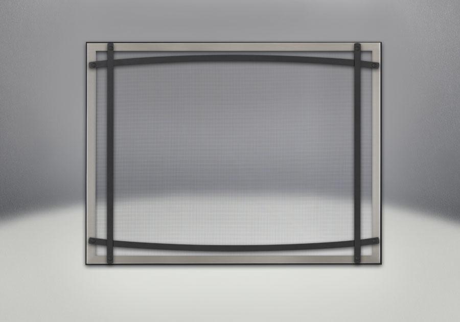 Façade classique illustrée avec un revêtement en fini nickel brossé, des barres d'accent cambrées en fini noir et un écran de protection