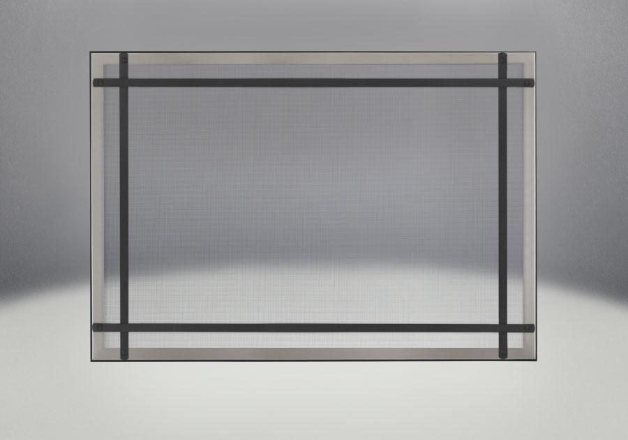 Façade classique illustrée avec un revêtement en fini nickel brossé, des barres d'accent droites en fini noir et un écran de protection