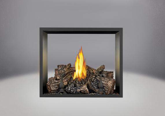 Brûleur avec bûches PHAZER<sup>®</sup>, panneaux décoratifs simili-briques en fini pierre de sable et moulure noire