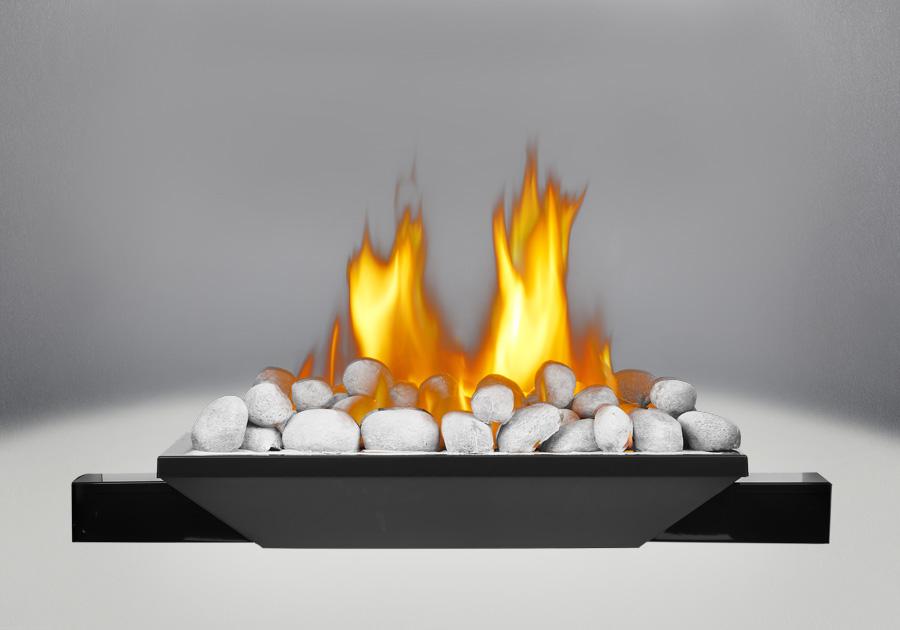 Brûleur avec roches de rivière