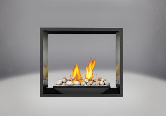 Brûleur avec roches de rivière, panneaux réflecteurs radiants en porcelaine MIRO-FLAMME<sup>MD</sup> et façade en fini peint noir