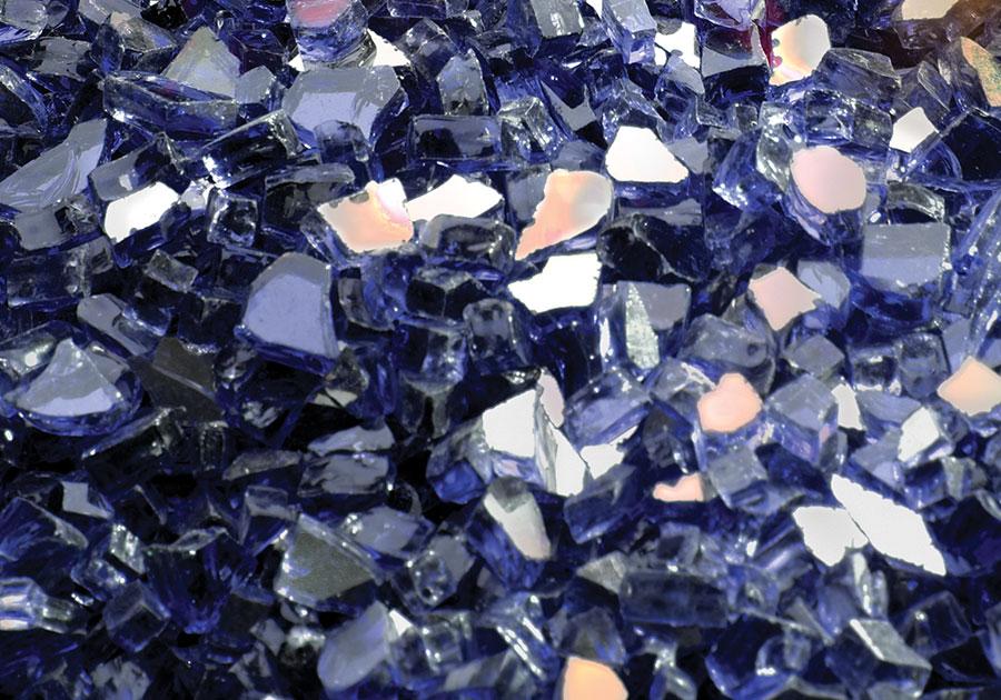 Ensemble décoratif de braises de verre - Bleu