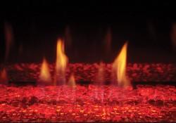 Billes de verre transparentes avec lumières DEL réglées sur rouge