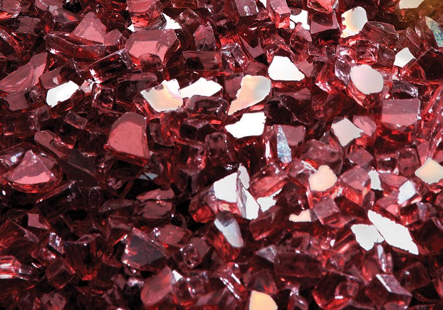 Ensemble décoratif de braises de verre - Rouge