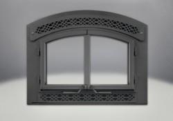Façade et portes arquées, et panneaux ornementaux Héritage en fonte peints noirs