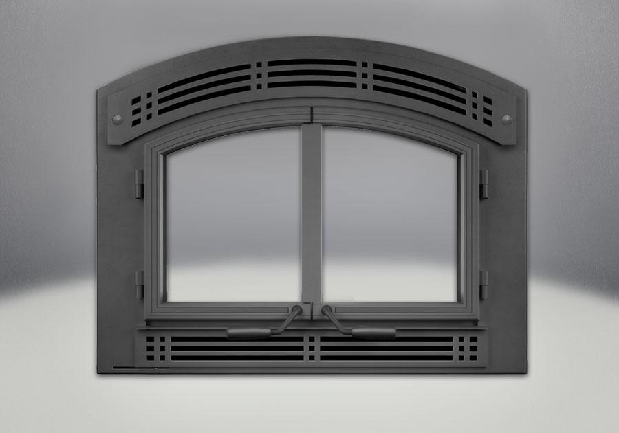 Façade et portes arquées, et panneaux ornementaux contemporains en fonte peints noirs