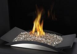 Brûleur pour braises de verre comprenant un lit de braises CRYSTALINE<sup>MD</sup> topaze