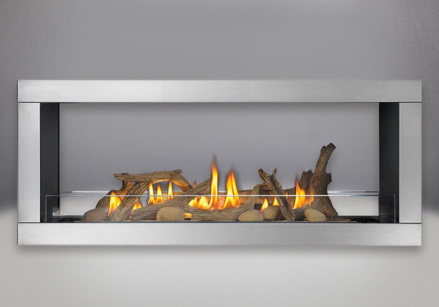 Moulure à quatre côtés, fini acier inoxydable brossé, ensemble de bûches de bois flotté, déflecteurs en verre