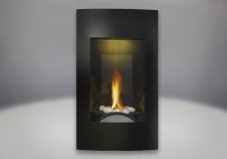Ensemble de brûleur avec roches de rivière, façade contemporaine, fini peint noir, panneaux réflecteurs radiants en porcelaine MIRO-FLAMME<sup>MD</sup>, lumière de veille exclusive