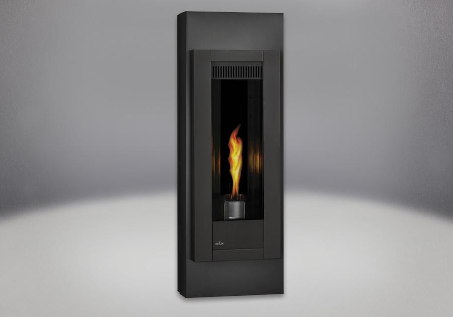 Panneaux réflecteurs radiants en porcelaine MIRO-FLAMME<sup>MD</sup>, cabinets réglables en fini peint noir métallique, façade en fini peint noir métallique