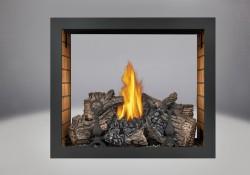 Brûleur avec bûches PHAZER<sup>®</sup>, panneaux décoratifs simili-briques en fini pierre de sable, moulure noire