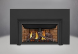 Bûches PHAZER<sup>®</sup>, panneaux décoratifs simili-briques en fini pierre de sable, moulure d'extrusion en aluminium à 3 côtés, plaque de fond à 3 côtés