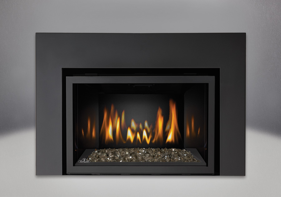 Image of the Napoleon IR3G fireplace with topaz glass media kit and contemporary front.