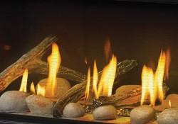 Panneaux réflecteurs radiants en porcelaine MIRO-FLAMME<sup>MD</sup>, billes de verre transparentes, ensembles Beach Fire et Shore Fire sans les braises topaze et la vermiculite