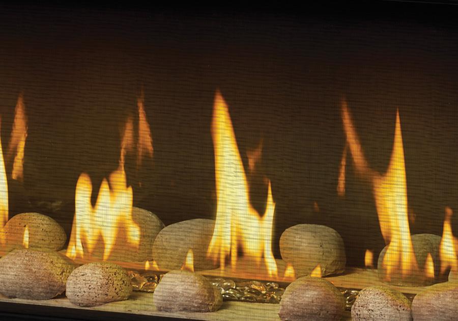Panneaux réflecteurs radiants en porcelaine MIRO-FLAMME<sup>MD</sup>, billes de verre transparentes et ensemble Shore Fire sans les braises topaze et la vermiculite