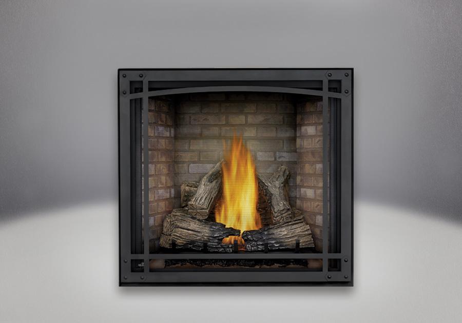 Bûches PHAZER<sup>®</sup>, panneaux décoratifs simili-briques de luxe Newport<sup>MD</sup>, cadre décoratif et écran de protection