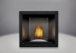 Plateau décoratif arqué, panneaux réflecteurs radiants en porcelaine MIRO-FLAMME<sup>MD</sup> platine et écran de protection