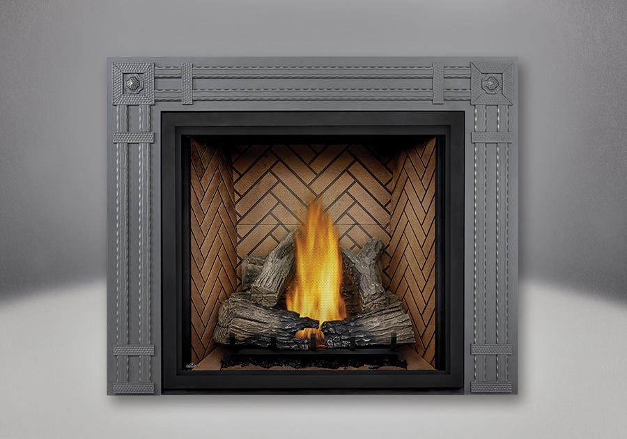 Bûches à FLAMMES HAUTES PHAZER<sup>®</sup>, panneaux simili-briques victoriens et façade décorative rectangulaire