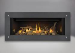 Ensemble de bûches de bois flotté, panneaux réflecteurs radiants en porcelaine MIRO-FLAMME<sup>MD</sup>, cadre linéaire - gris