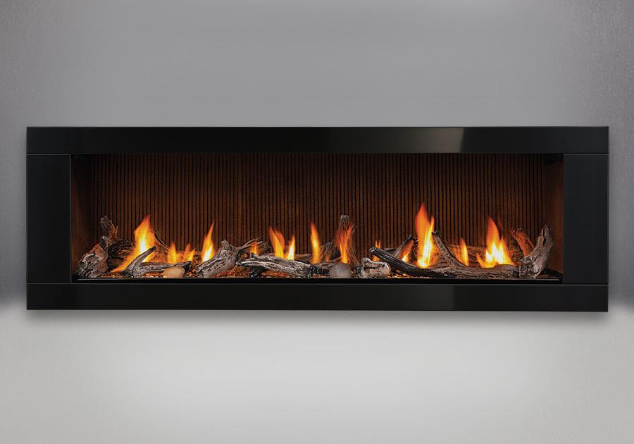 Ensemble de bûches de bois flotté, panneaux simili-briques rainurés californiens, contour de luxe à 4 côtés - peint noir lustré