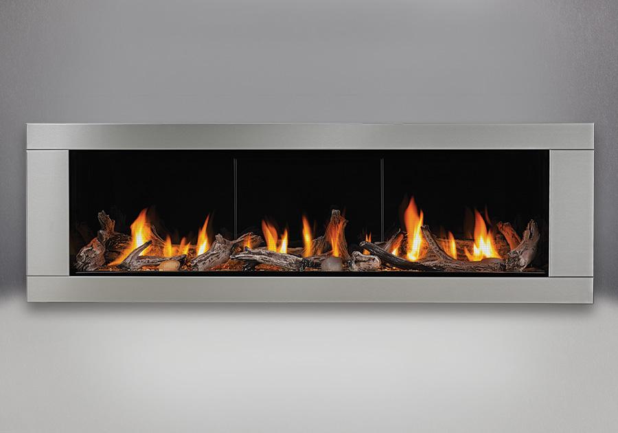 Ensemble de bûches de bois flotté, panneaux réflecteurs radiants en porcelaine MIRO-FLAMME<sup>MD</sup>, contour haut de gamme à 4 côtés - acier inoxydable brossé