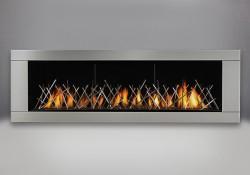 Lit de braises CRYSTALINE<sup>MD</sup> topaze, panneaux réflecteurs radiants en porcelaine MIRO-FLAMME<sup>MD</sup>, contour haut de gamme à 4 côtés - acier inoxydable brossé