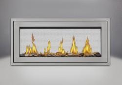 Moulure de finition (autour d'un cadre affleurant) en acier inoxydable, ensemble Shore Fire et panneaux réflecteurs radiants en porcelaine MIRO-FLAMME<sup>MD</sup>