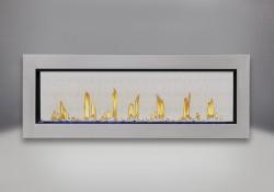 Cadre affleurant en acier inoxydable, billes de verre bleues et panneaux réflecteurs radiants en porcelaine MIRO-FLAMME<sup>MD</sup>