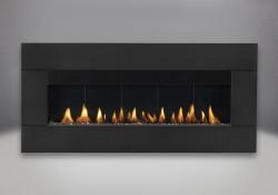 Contour rectangulaire en fini peint noir avec brûleur au gaz naturel