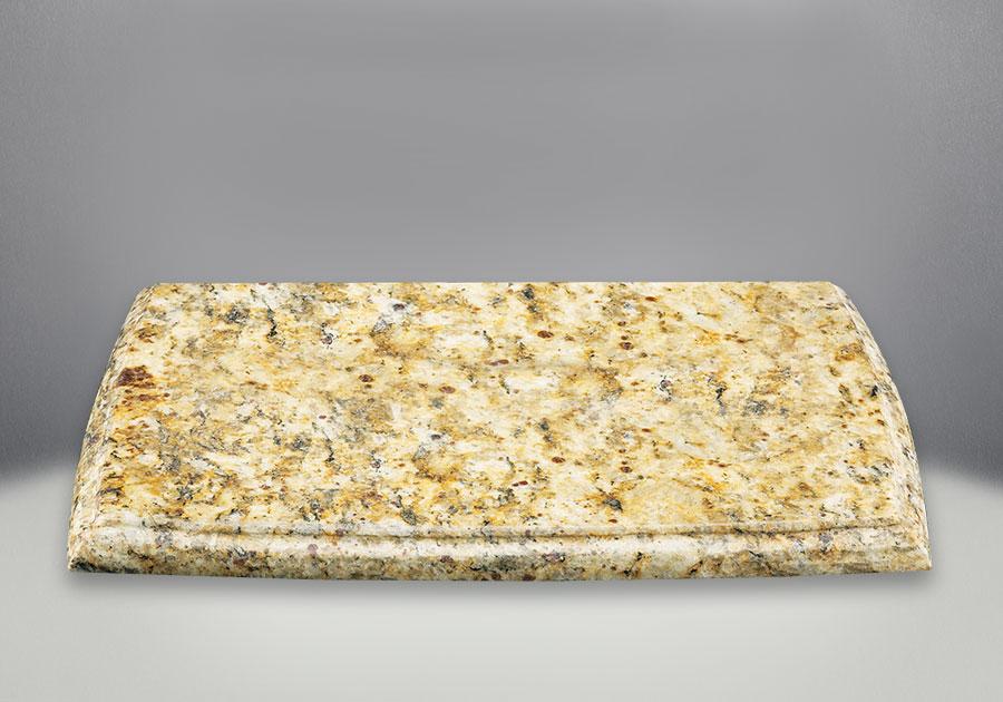 Plaque décorative pour dessus de poêle en fini brun doré Giallo (pierre naturelle - la couleur et le motif peuvent varier)