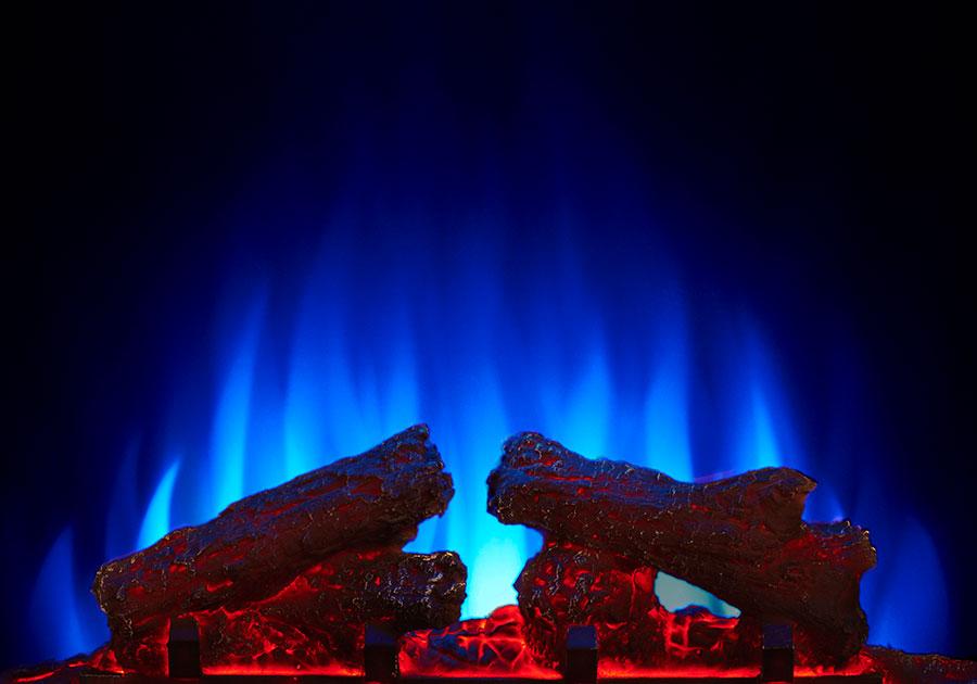 Jeu de flammes réglé sur le bleu