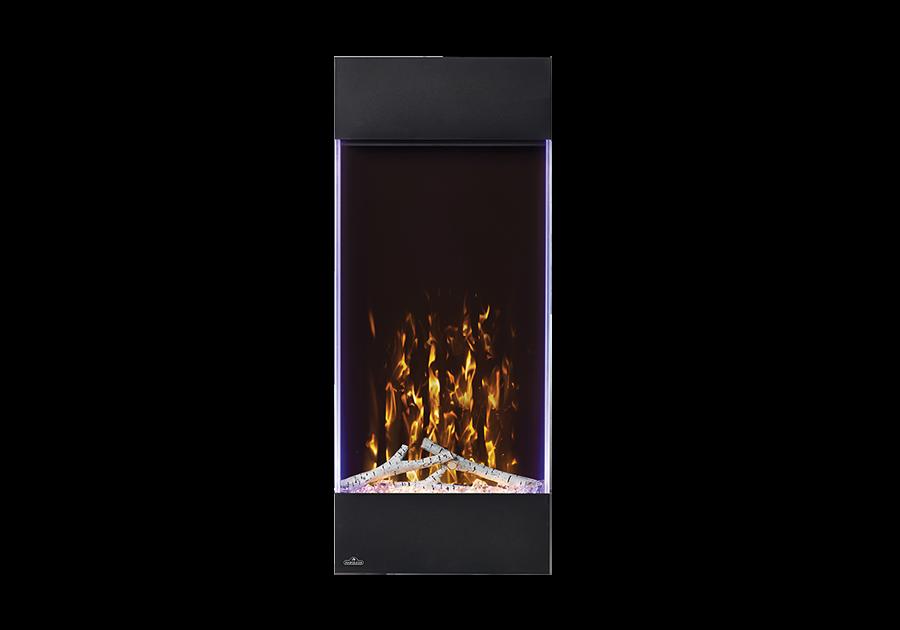 Illustré avec un jeu de flammes jaune, un lit de braises jaune et des lumières d'appoint latérales réglées sur le violet