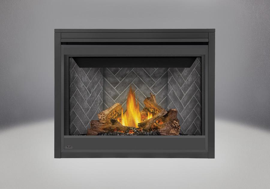 Ensemble de bûches PHAZER<sup>®</sup>, Panneaux décoratifs simili-briques victoriens gris, écran de protection