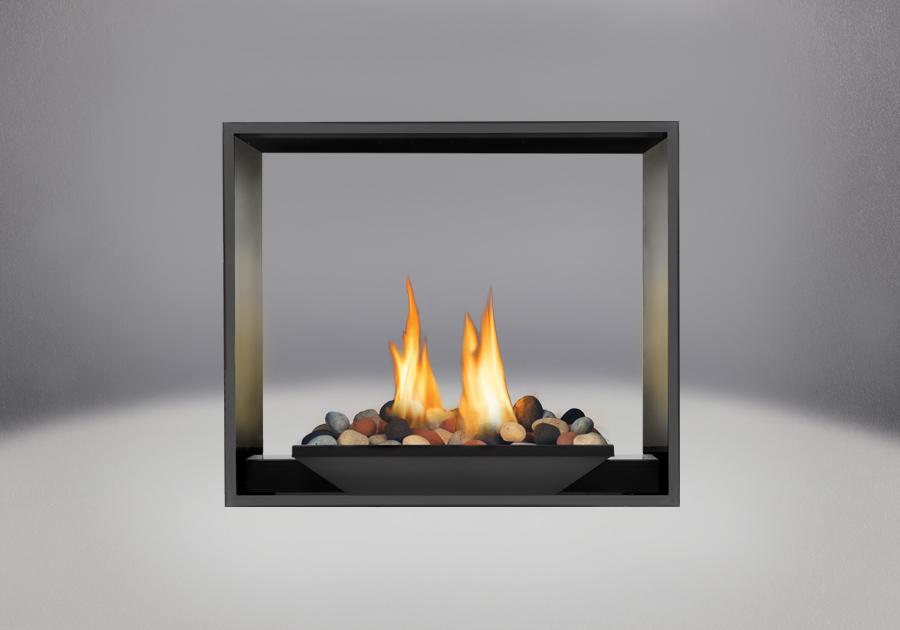 Brûleur avec Mineral Rocks, panneaux réflecteurs radiants en porcelaine MIRO-FLAMME<sup>MD</sup> et façade en fini peint noir