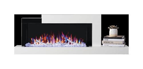Foyer Stylus<sup>MD</sup> illustré avec un lit de braises à DEL à défilement de couleurs et un jeu de flammes réglé sur multicolore