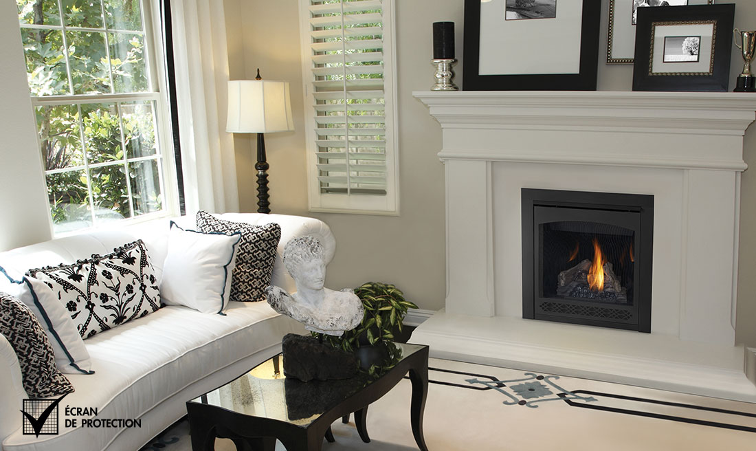 Napoleon B30 fireplace in a white dinning room