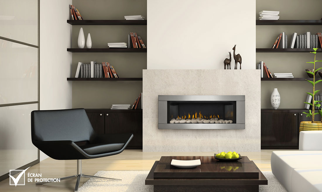 Napoleon LHD45 fireplace with stainless steel surround
