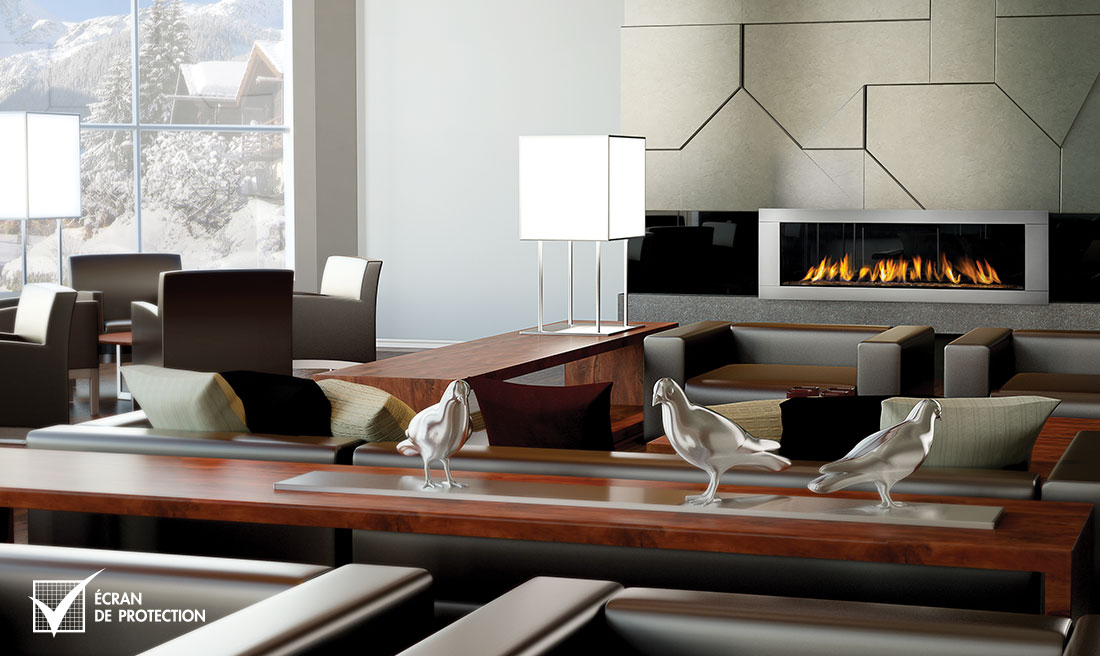 Napoleon LHD62 fireplace with steel surround