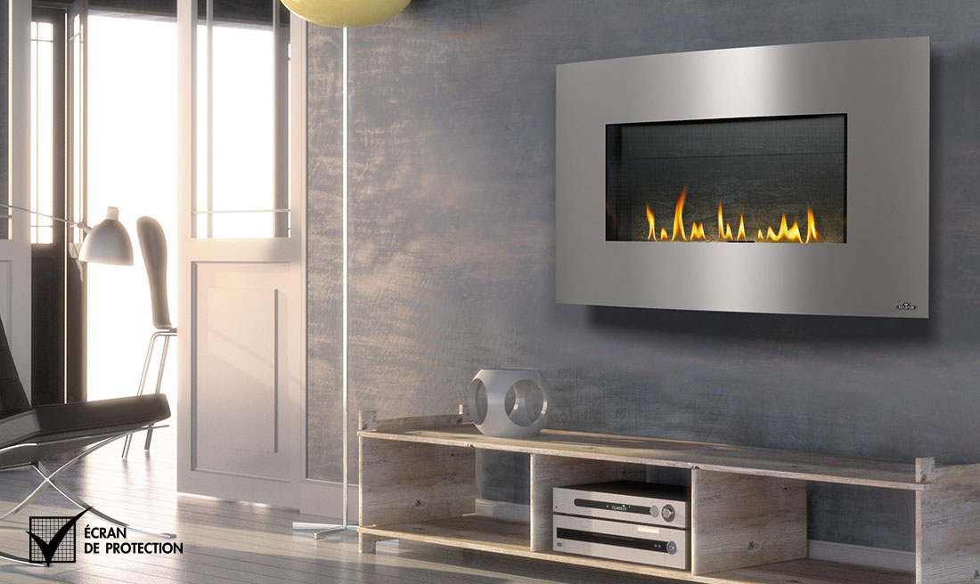 Napoleon WHD31 fireplace with stainless steel surround