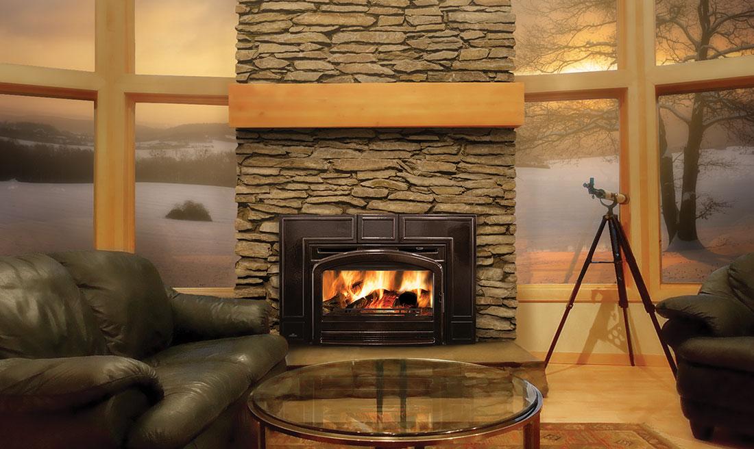Napoleon Oakdale epi3cT fireplace with brick chimney