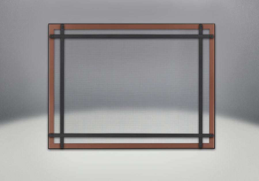 Façade classique illustrée avec un revêtement en fini cuivre brossé, des barres d'accent droites en fini noir et un écran de protection
