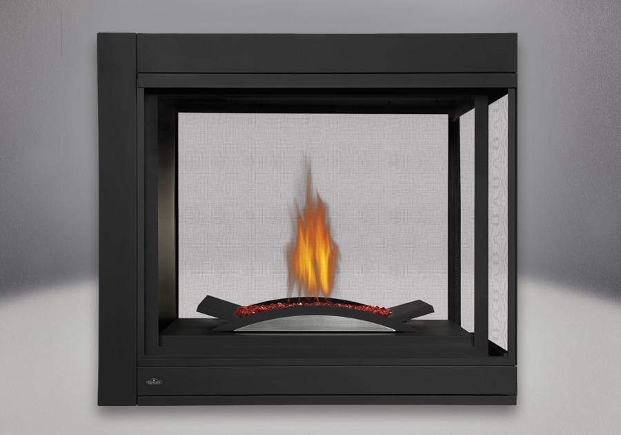 Péninsule, panneaux réflecteurs radiants en porcelaine MIRO-FLAMME<sup>MD</sup>, brûleur pour braises de verre comprenant un lit de braises CRYSTALINE<sup>MD</sup> rouge